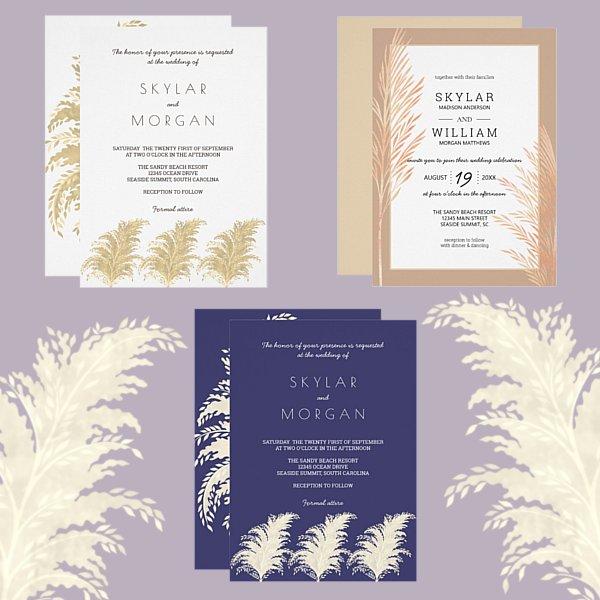 Wedding Trends 2019 Pampas Grass Invitations