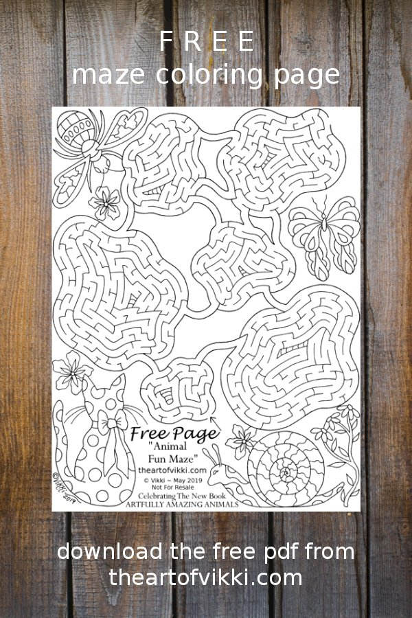 A Free Printable Maze Game Puzzle And Coloring Page Celebrating Artfully Amazing Animals