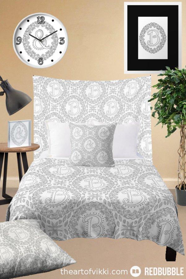 Black And White Wreath Monochrome Monogram Bedroom