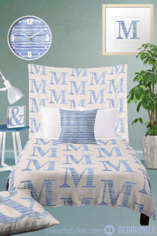 Blue Watercolor Stripes Monogram Bedroom