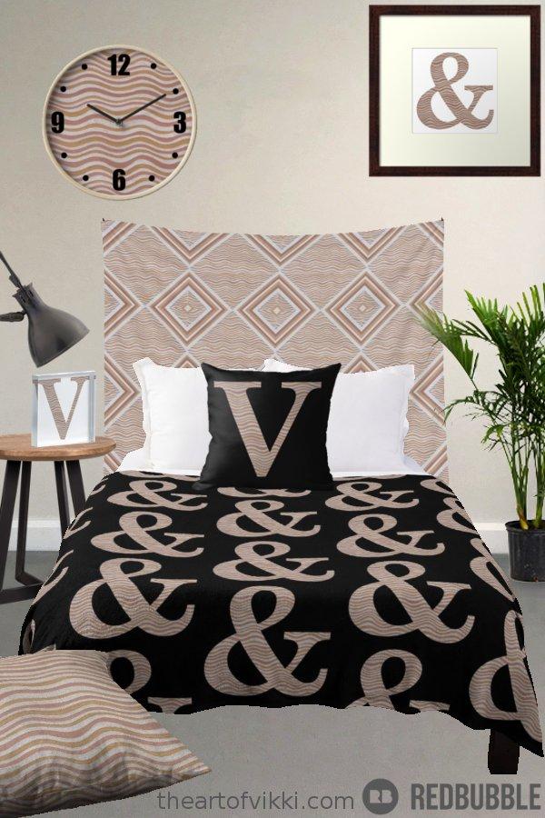 Metallic Stripes Monogram Bedroom