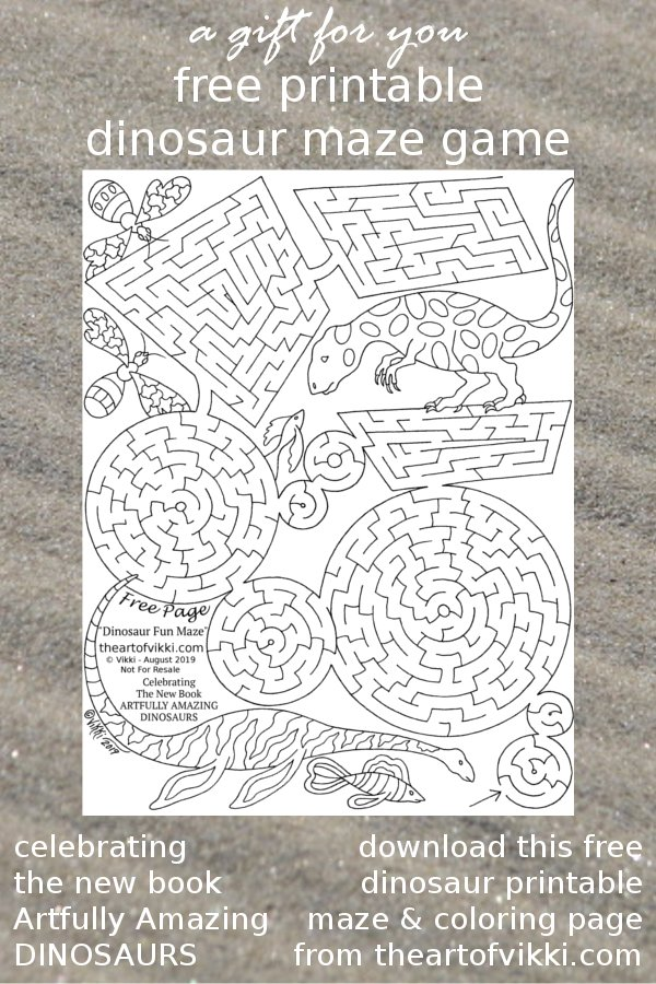 A Free Printable Maze Game Puzzle And Coloring Page Celebrating Artfully Amazing Dinosaurs