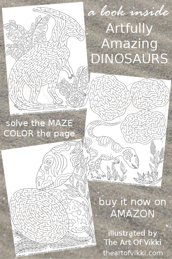 Artfully Amazing Dinosaurs Maze And Coloring Book